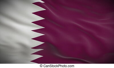 Highly detailed flag of Qatar ripples in the wind. Looped 3d...