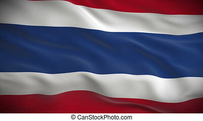 Highly detailed flag of Thailand ripples in the wind Looped...