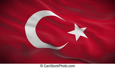 Highly detailed flag of Turkey ripples in the wind. Looped...