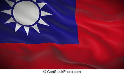Highly detailed flag of Taiwan ripples in the wind Looped 3d...
