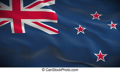 Highly detailed flag of New Zealand ripples in the wind...