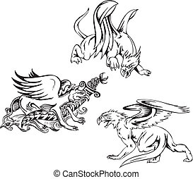 Griffins - Three griffins. Set of black and white vector...