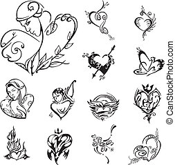 Stylized heart designs. Set of black and white vector...