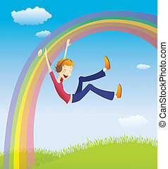 Boy on the rainbow. EPS10. Contains transparent objects used...