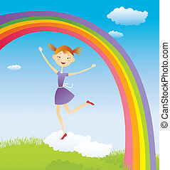 Girl on cloud and a rainbow. EPS10. Contains transparent...