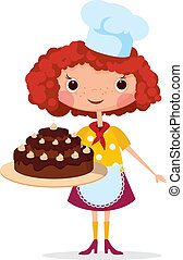 Girl cook with cake. EPS10. Contains transparent objects...