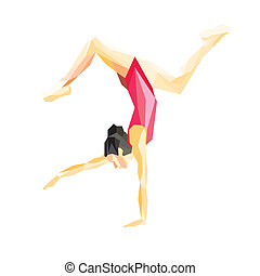 gymnast standing on one hand - Front view of a pretty...
