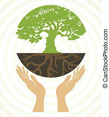 Tree icons with hands. Vector art illustration