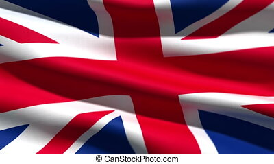 British flag background, 3d animation perfect seamless loop