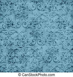 Vintage Blue Floral Tapestry Patter - Worn blue floral...