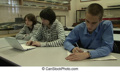 Students at a lecture in the classroom.