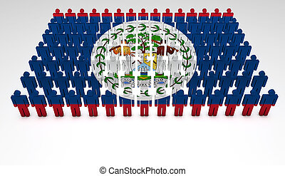 Belizean Parade - Parade of 3d people forming a top view of...