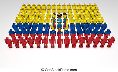 Ecuadorian Parade - Parade of 3d people forming a top view...