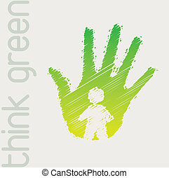 Think green - Green hand with person in signal of protection