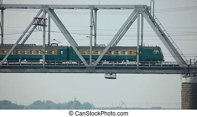 Railway bridge - Railway bridge over the Ob River,...