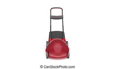 Lawn mower - 	Lawn mower rotates on white background