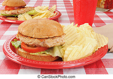 Turkey burgers on a picnic table