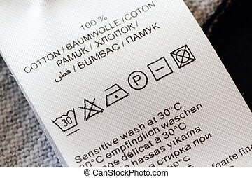 Laundry care label - Clothing labels with laundry care...