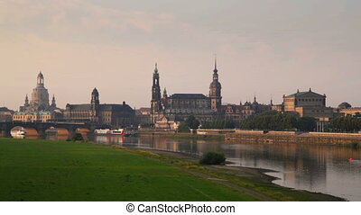 Dresden, Germany - The Skyline of Dresden Germany shortly...