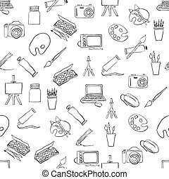 doodle seamless pattern with art pictures
