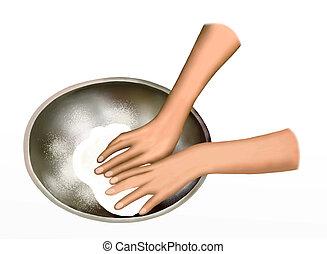 A Baker Kneading Dough in Mixing Bo - Closeup of A Baker...