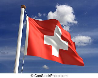 Switzerland flag (with clipping path) - 3D Switzerland flag...