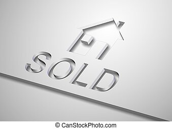 sold house - a 3d illustration of a home icon and a word...