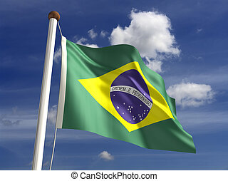 Brazilian flag with clipping path - 3D Brazil flag with...