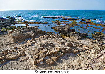 Detail of ancient city Caesarea from Israel - old port of...