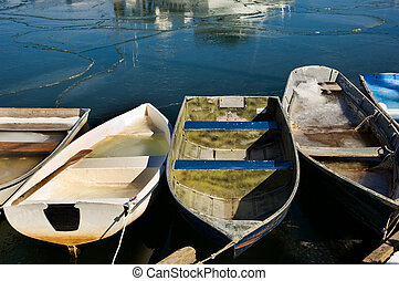 Rockport, MA - Rowboats in fishermen village of Rockport on...