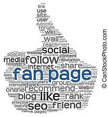 Fan page in tag cloud on white - Fan page concept in tag...