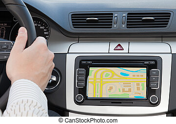 GPS navagation in luxury car - GPS navagation in interior of...