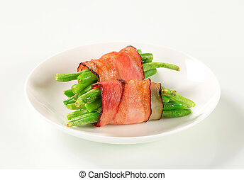 String beans wrapped in bacon