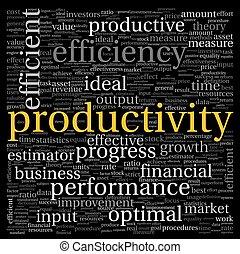productividad, concepto, etiqueta, nube