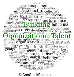 Building Organizational Talent concept in word tag cloud on...