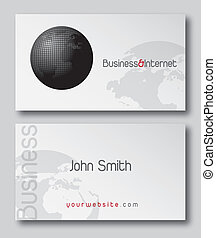 Business card presentation with a world vector illustration