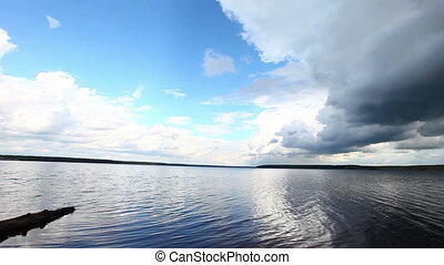 Wide open lake water at summer cloudy day