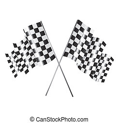 racing flag - Two racing flag over white background