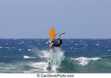 Windsurfers At Hookipa Beach Park, - This beach is known as...