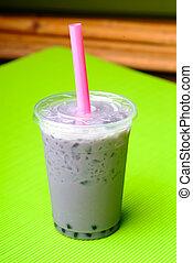 Pearl milk tea on background - Pearl milk tea on white...