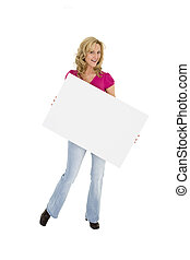Woman holding sign - Beautiful Caucasian woman holding a...