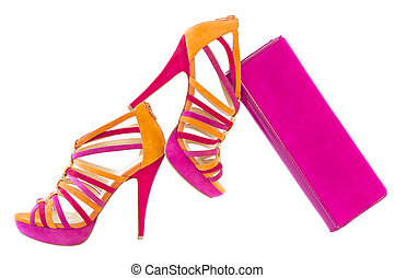 éplucher, orange, rose, chaussures