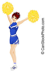 Cheerleader with yellow poms - Cartoon cheerleader with...