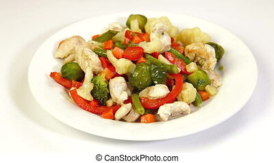 Vegetable Stir Fry - Eating Chicken Meat and Vegetable Stir...