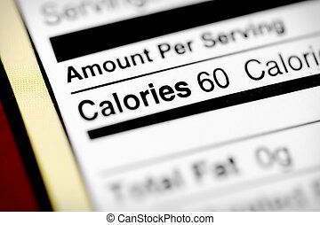Low in calories - Nutritional label with focus on calories....
