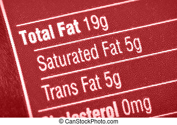 High in fat - Nutritional label with focus on fats