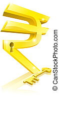 Rupee key lock concept - Conceptual illustration of a gold...