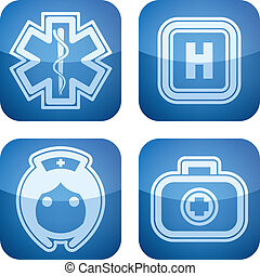 "Healthcare - 4 icons in ""Healthcare"" 22 degrees blue icons..."