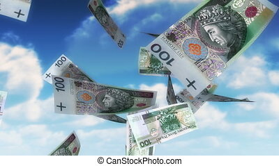 Money from Heaven - PLN Loop - 100 Polish Zlotys bills...