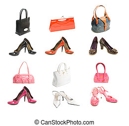 Different types shoes and bags set. Isolated on white background